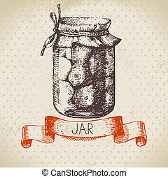 Rustic canning jar with tomato. Vintage hand drawn sketch design