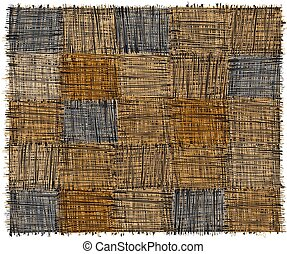 Rustic checkered mat with grunge striped rough rectangular elements in blue, yelow, beige, grey colors isolated on white