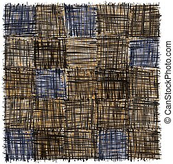 Rustic checkered mat with grunge striped rough square elemen in brown, blue ,grey, yellow colors isolated on white