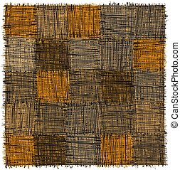 Rustic checkered mat with grunge striped rough square elements in yelow, beige, grey, blak colors isolated on white
