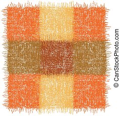 Rustic checkered rug, mat, carpet, serviette, napkin with square grunge woven elements in orange, brown, yellow colors isolated on white