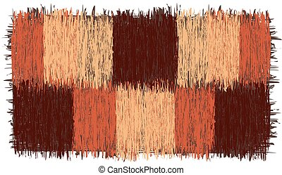Rustic checkered rug with grunge striped square elements with fringe in brown, orange, beige colors isolated on white