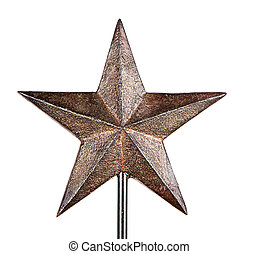 Rustic Christmas star tree topper, isolated on white