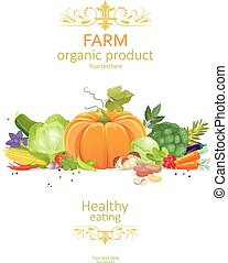 rustic collection of organic vegetables on white background for