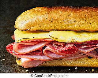 rustic deli cold cuts sandwich