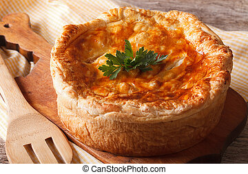 Rustic delicious chicken pie close-up. horizontal - Rustic ...
