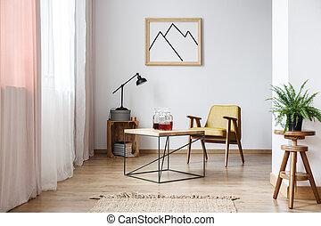 Rustic design of white interior