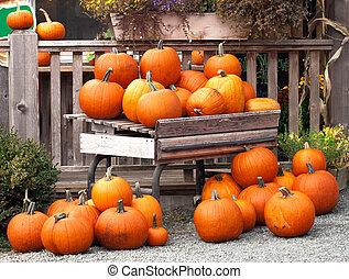 rustic display of oranage pumpkins.