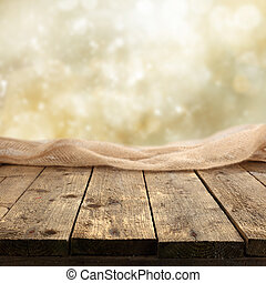 rustic display - rustic plank table on shiny background