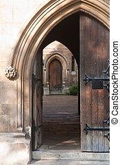 Rustic doorway - Heavy ornamented doorway leading to a ...