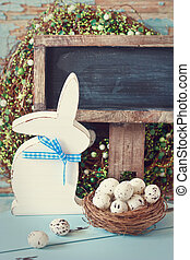 Rustic Easter. - Easter composition with Easter bunny, nest...
