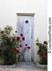 Wooden Doorway in Rose Garden