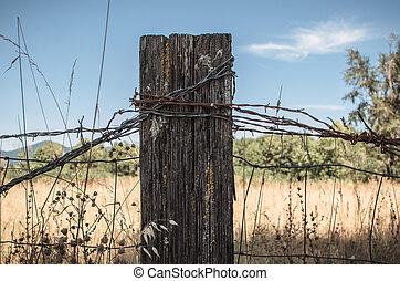 Rustic Fence Post - A closeup shot of a rustic fence post