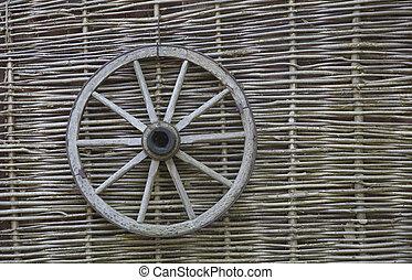 rustic fence - village. Wicker fence vine. wooden wagon...