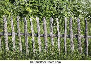 rustic fence - village. old rustic wooden fence. handmade....