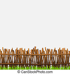 Rustic fence with grass. Vector illustration