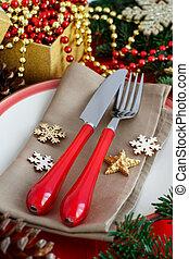 Rustic festive table setting