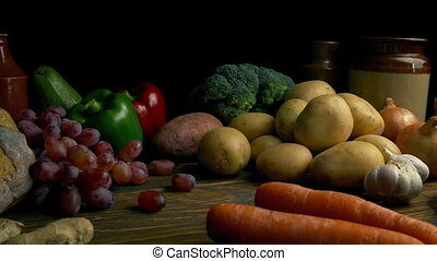 Rustic Food Spread Of Vegetables On Wooden Table