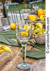 Rustic garden table setting - Image of a rustic table...