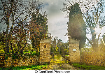 rustic gate in the countryside