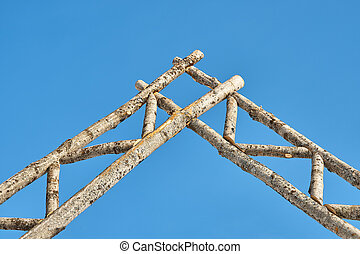 Rustic gate made of logs