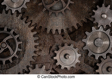 Rustic gears and cogs mechanism. Mixed media.