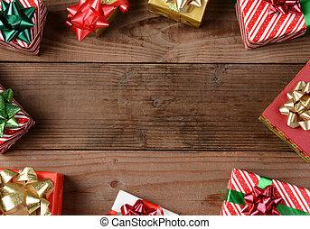 rustic, hölzerner fußboden, weihnachtsgeschenke