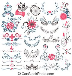 Rustic hand sketched wedding modern vintage graphic collection of cute floral flowers, arrows, birds, brougham, laurel, and labels.
