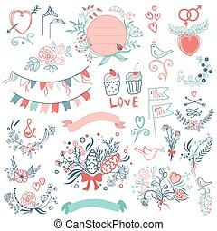 Rustic hand sketched wedding modern vintage graphic collection of cute ribbons, wreaths arrows, birds, hearts, laurel, and labels.