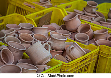 Rustic handmade ceramic clay brown terracotta cups souvenirs at