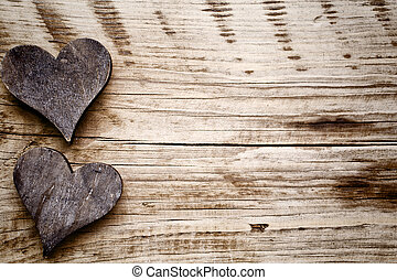 Rustic heart. - Wooden hearts rustic style. Greeting card.