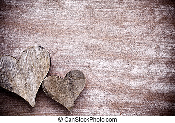 Wooden hearts rustic style. Greeting card.
