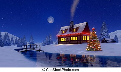 Rustic house and christmas tree at snowy night