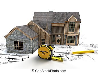 Rustic house construction - 3D rendering of a rustic house...