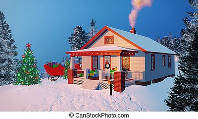 Rustic house decorated for Christmas evening - Traditional...