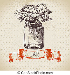Rustic jar with chamomile bouquet. Vintage hand drawn sketch