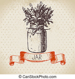 Rustic jar with lavender bouquet. Vintage hand drawn sketch...