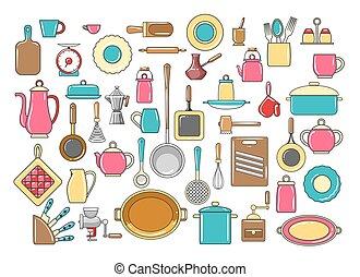 Rustic kitchen utensils set
