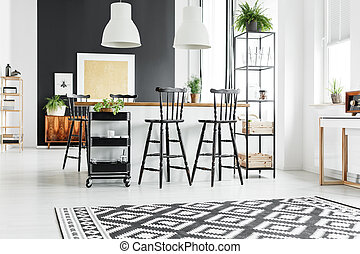 Rustic kitchen with bar stools