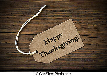 Rustic Label with Happy Thanksgiving