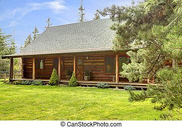 Rustic log cabin front porch exterior.