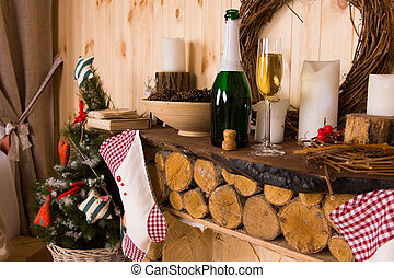 Rustic Log Mantle with Christmas Stockings