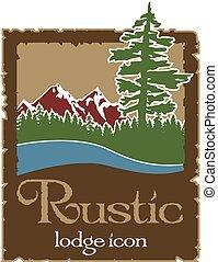 rustic, logo, draußen