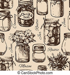 Rustic, mason and canning jar. Vintage hand drawn seamless...