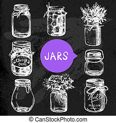 Rustic, mason and canning jars hand drawn set. Sketch design