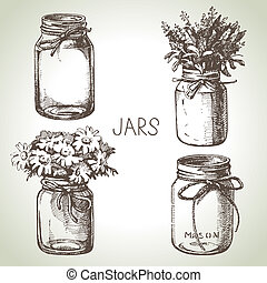Rustic, mason and canning jars hand drawn set. Sketch design...