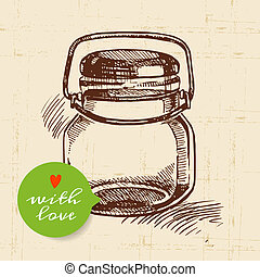 Rustic mason canning jar. Vintage hand drawn sketch design.