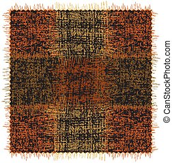 Rustic mat, rug, plaid, carpet with grunge rough square elements applique to cloth in orange, yellow, green colors on black backdrop