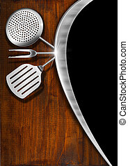 Rustic Menu Template - Black and gray background, metal wave...