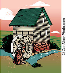 Old fashioned mill beside a creek in the countryside